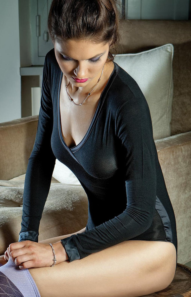 Lady P Long Sleeve Mock Crossover V-neck BodySuit
