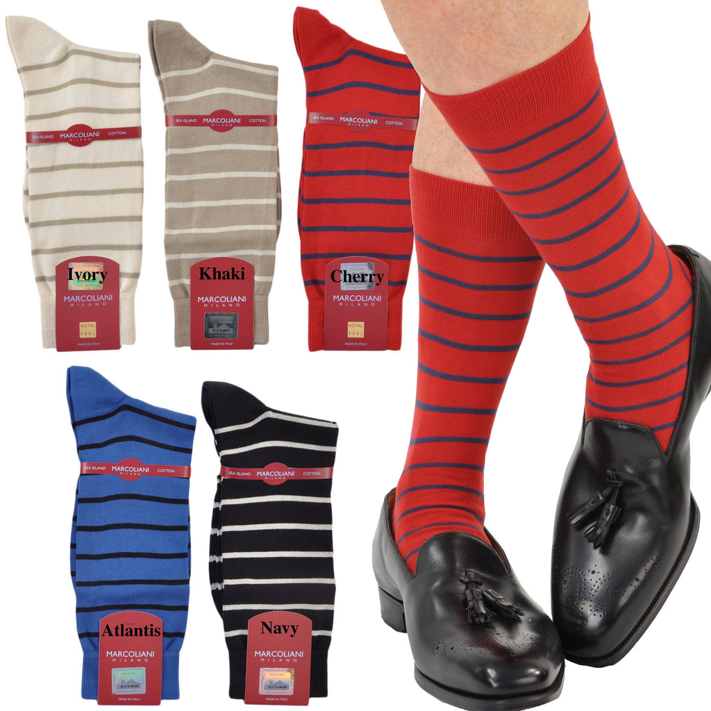 Sea Island Cotton Blend Mid Calf Striped Sock
