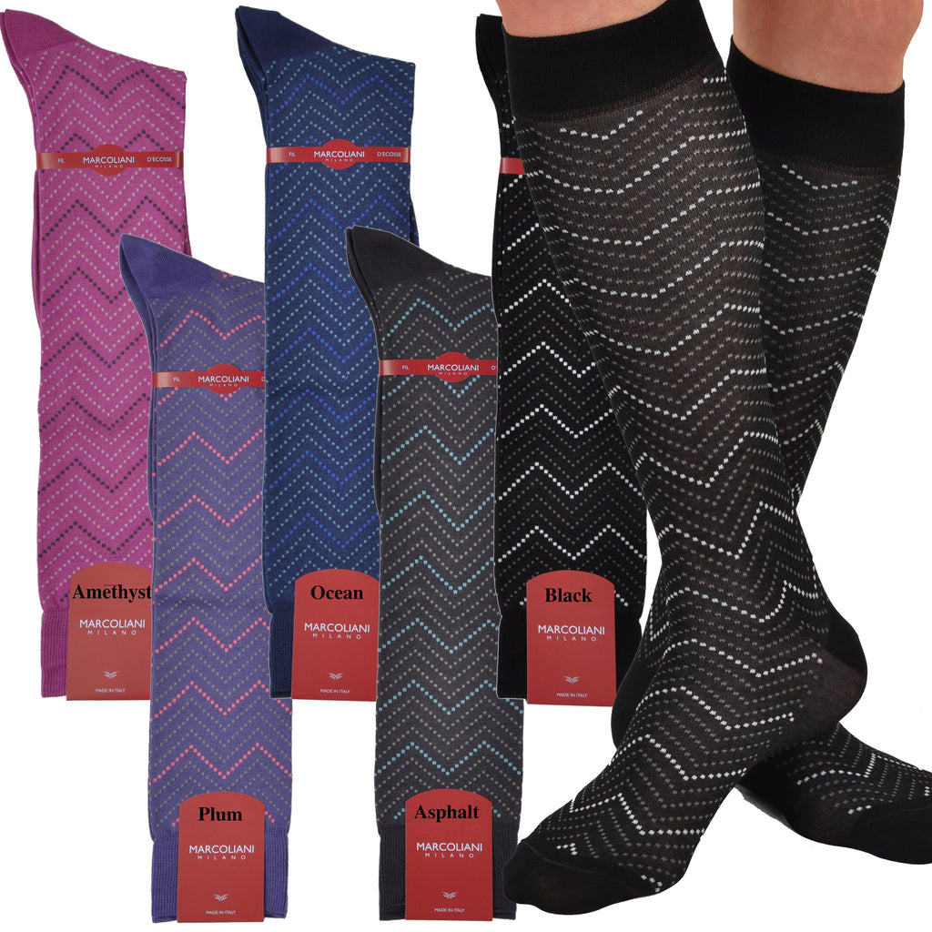 Unique Over-the-Calf Fancy Follia Retro Zig-Zag Sock