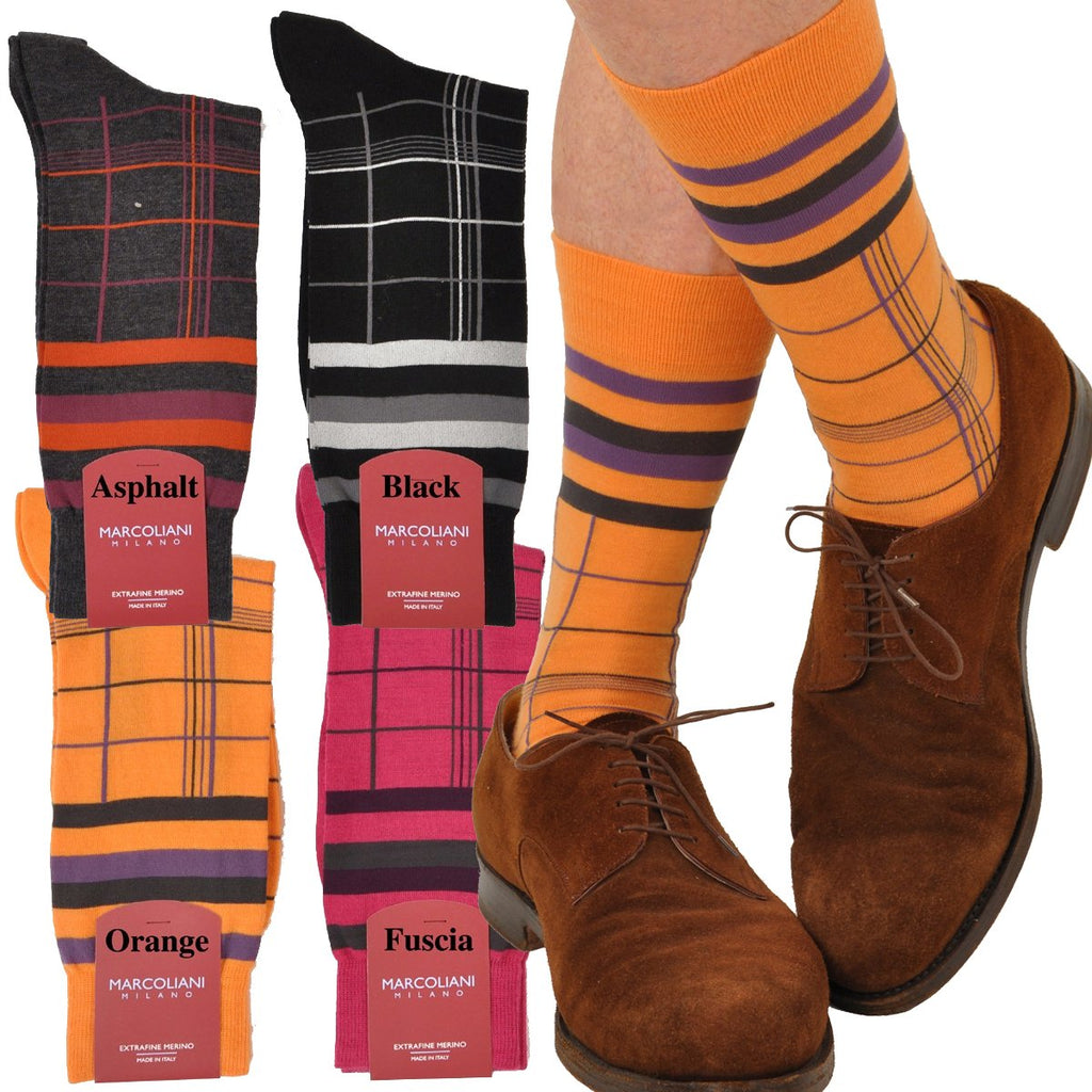 ExtraFine Merino Plaid Mid Calf Socks