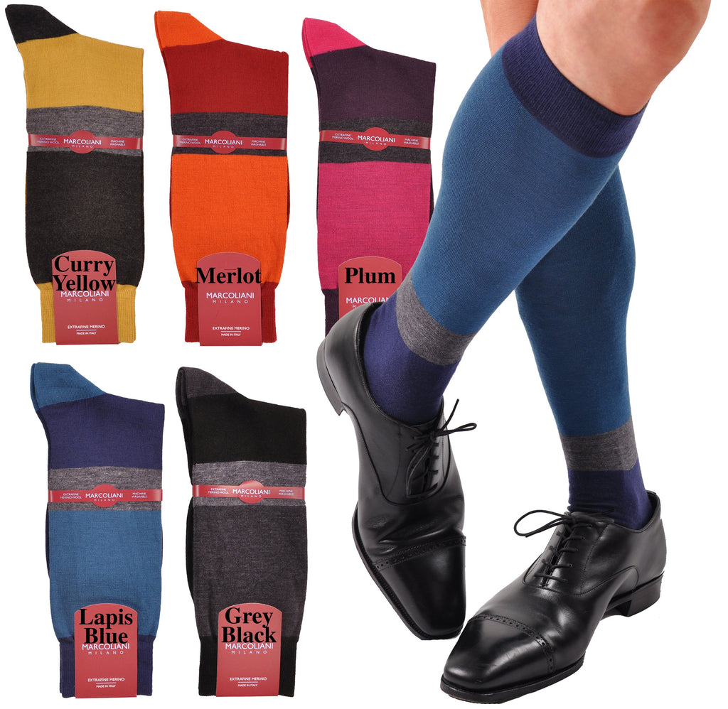 ExtraFine Merino Color Block Horizontal Stripe Mid-Calf Socks