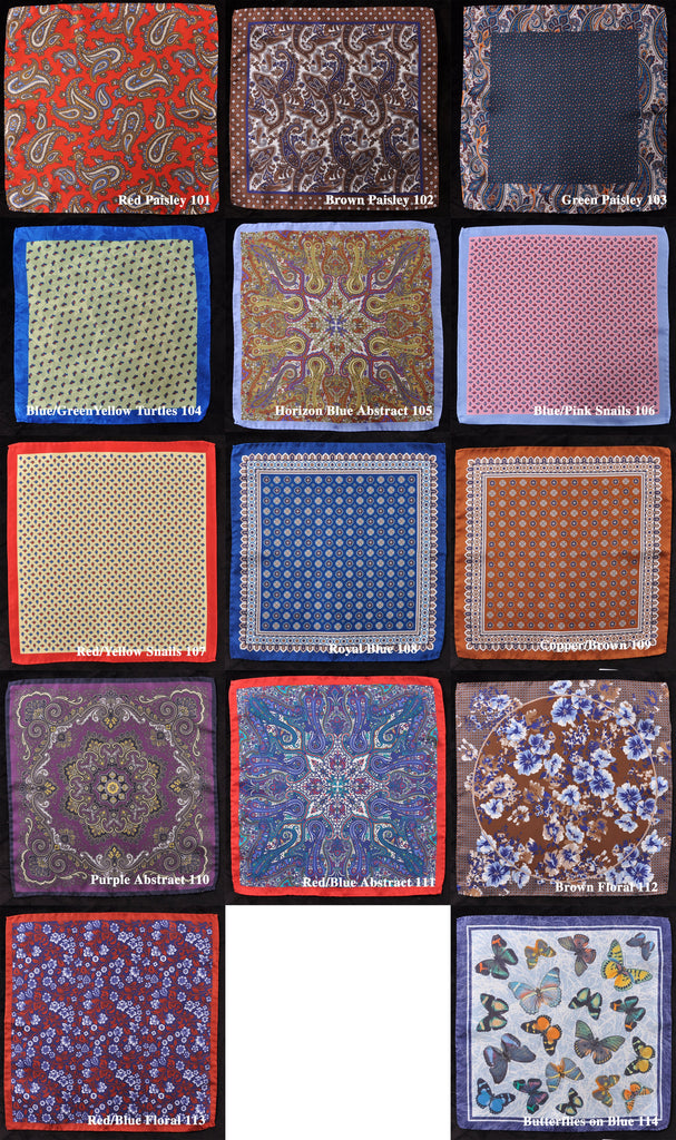 Italian Artisan-Made Hand Rolled Pure Silk Pocket Squares