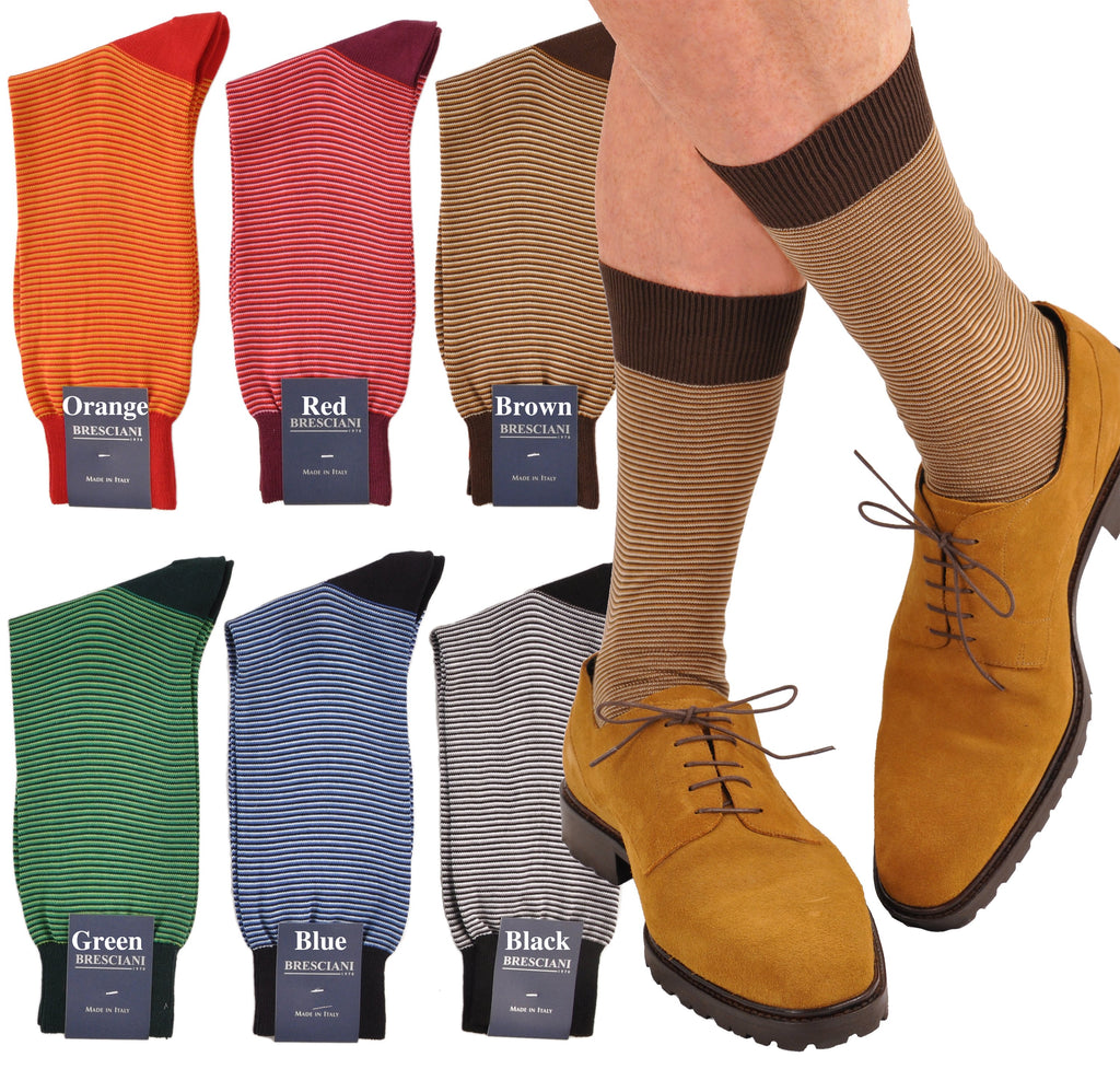 Unique Soft Cotton Mid-Calf MicroStripe Socks