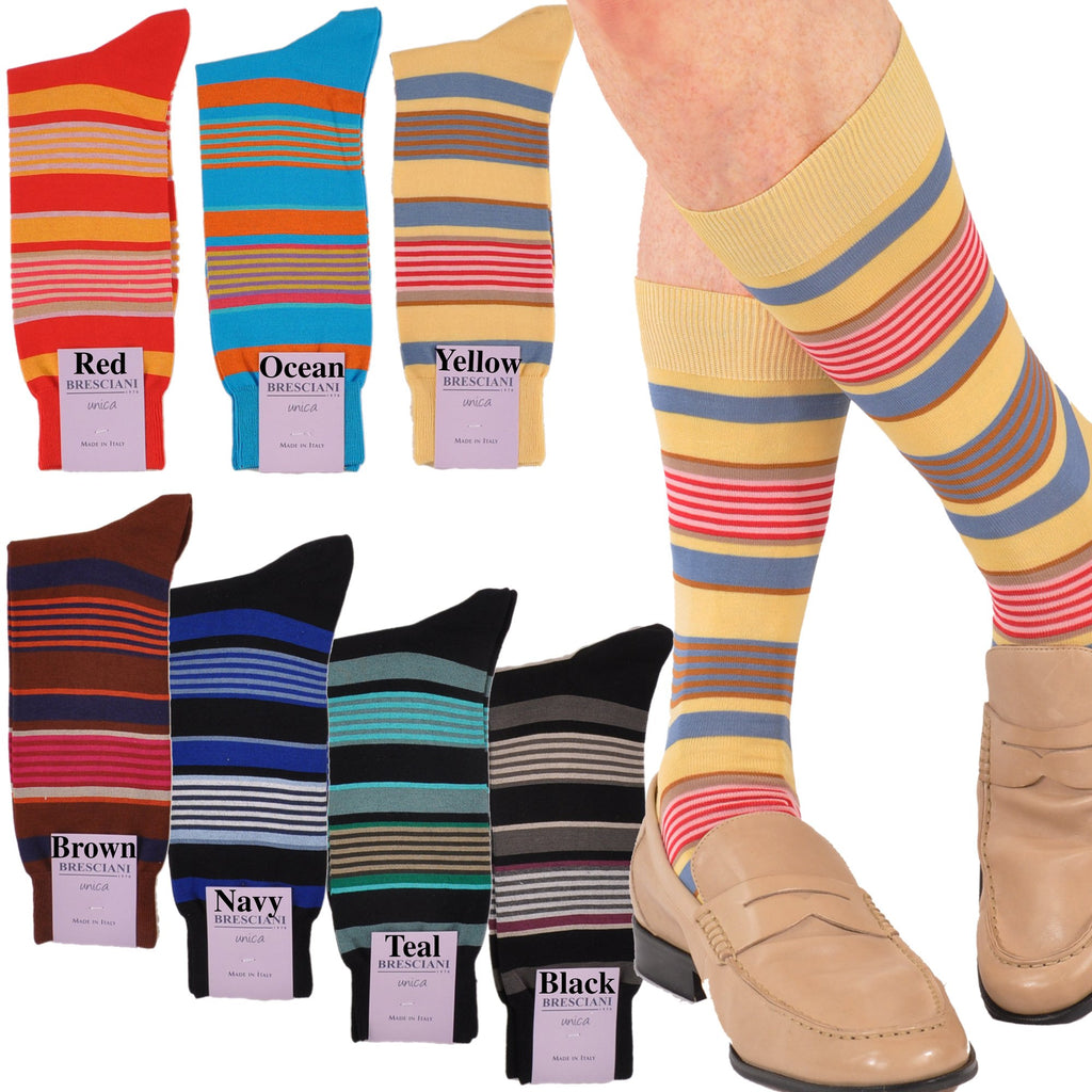 Lake Como Beach Mid-Calf Horizontal Multi-Stripe Socks