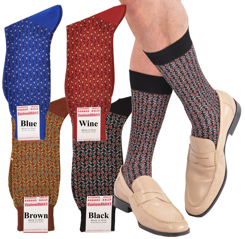 Alexander Kabbaz Design Ultimate Paisley Mid-Calf Cotton Socks