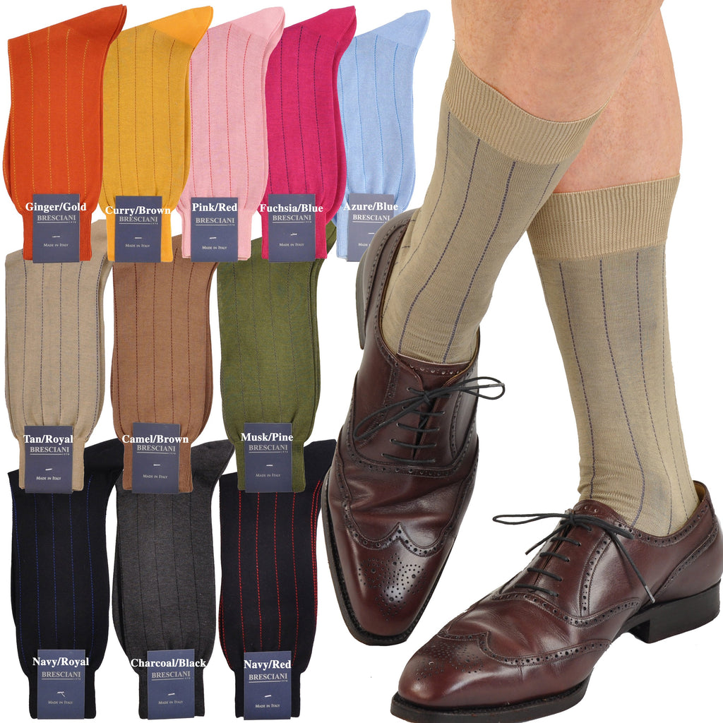 Essential Egyptian Cotton Dress Pinstripe Mid-Calf Socks