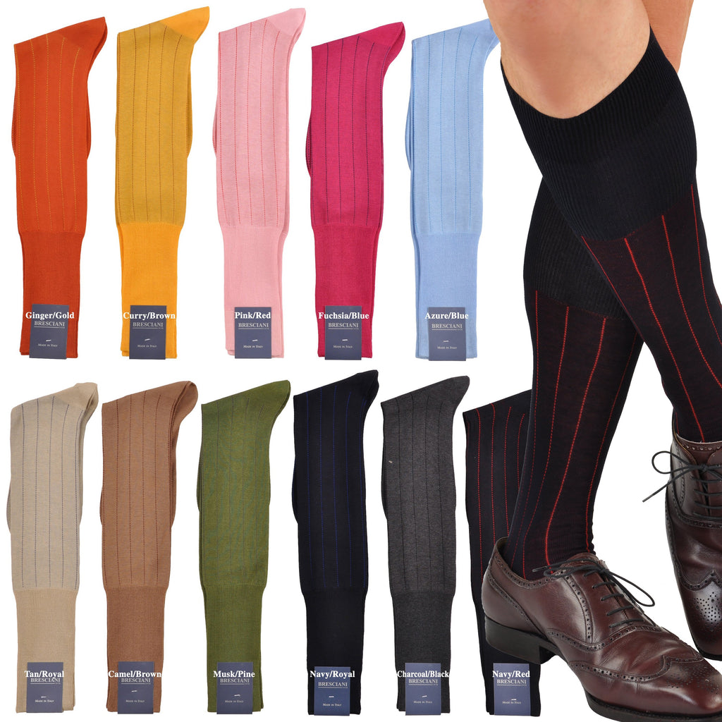 Essential Egyptian Cotton Dress Pinstripe Over-the-Calf Socks