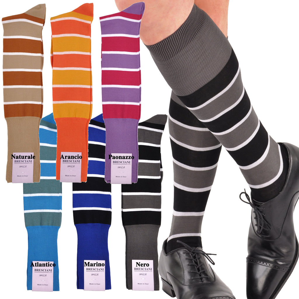 Sophisticated Bold Stripe Over-the-Calf Cotton Socks