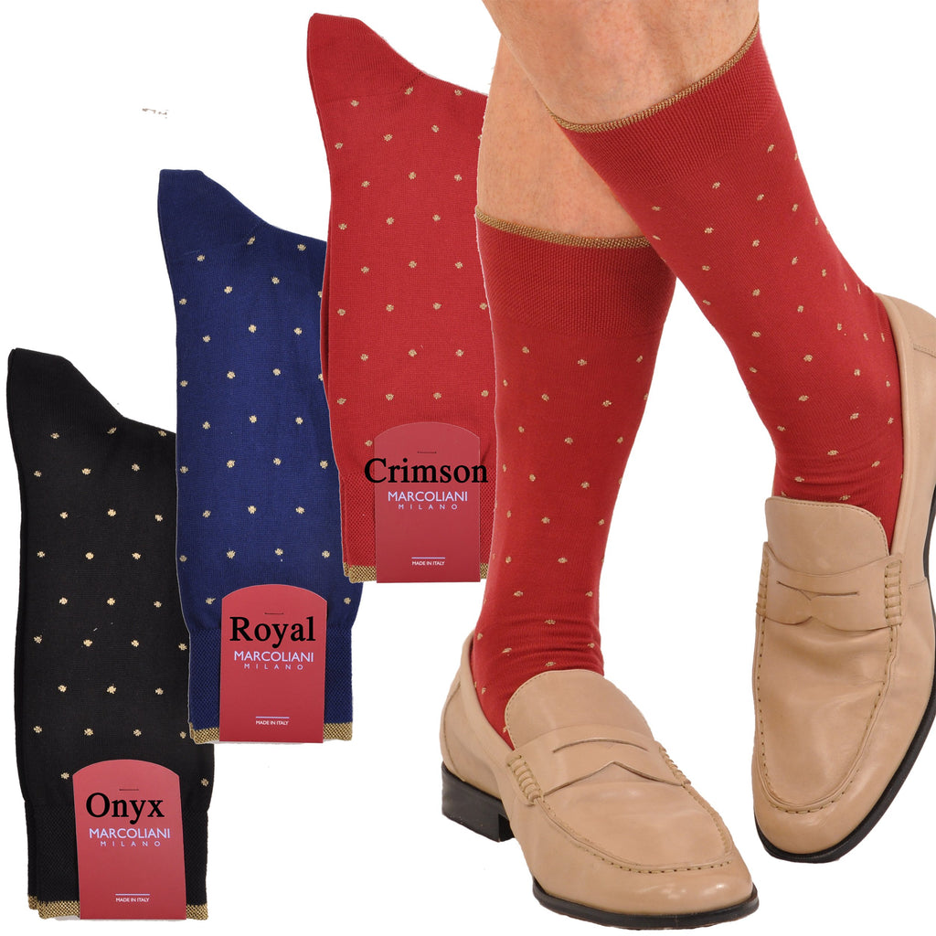 Pima Cotton Gold Elegance Dress Dot Mid-Calf Socks