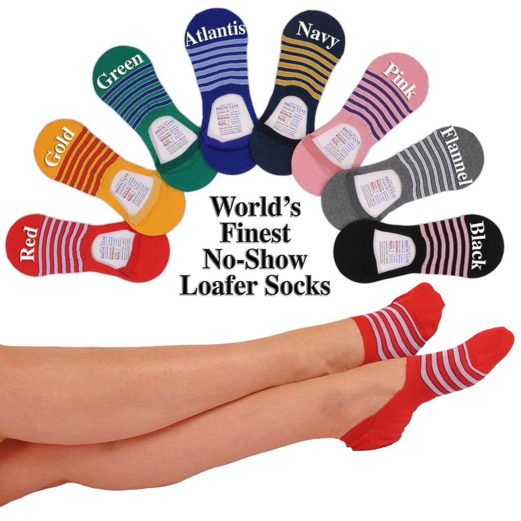 A World's Finest Selection: Cotton No-Show Striped Loafer Socks
