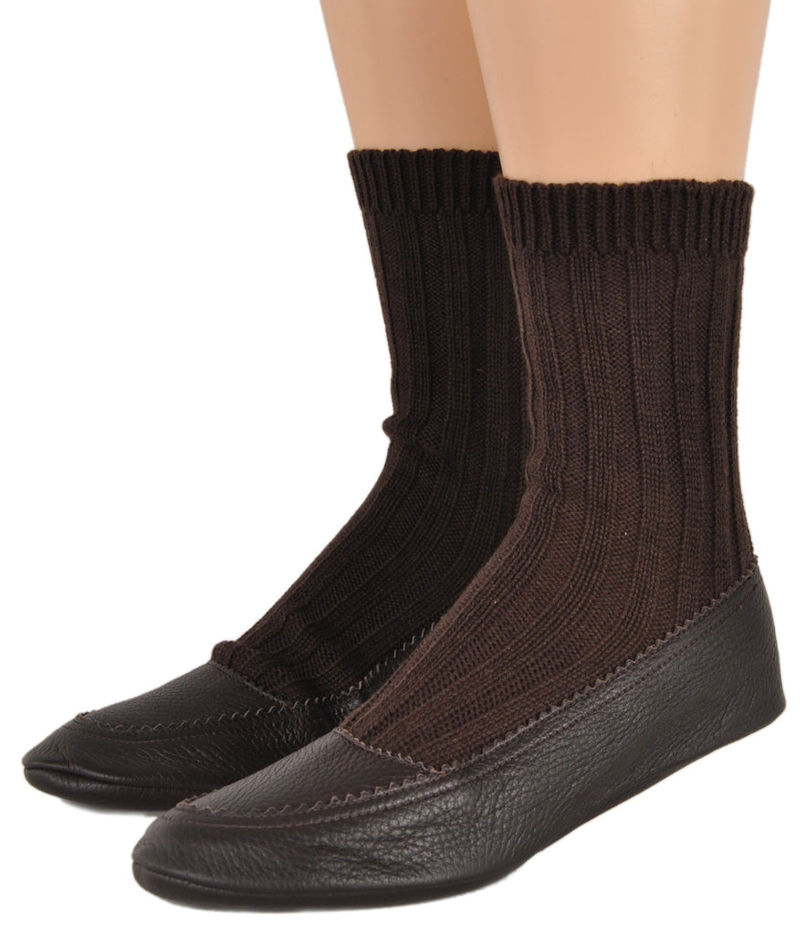 Cashmere & Deerskin Slipper in Brown
