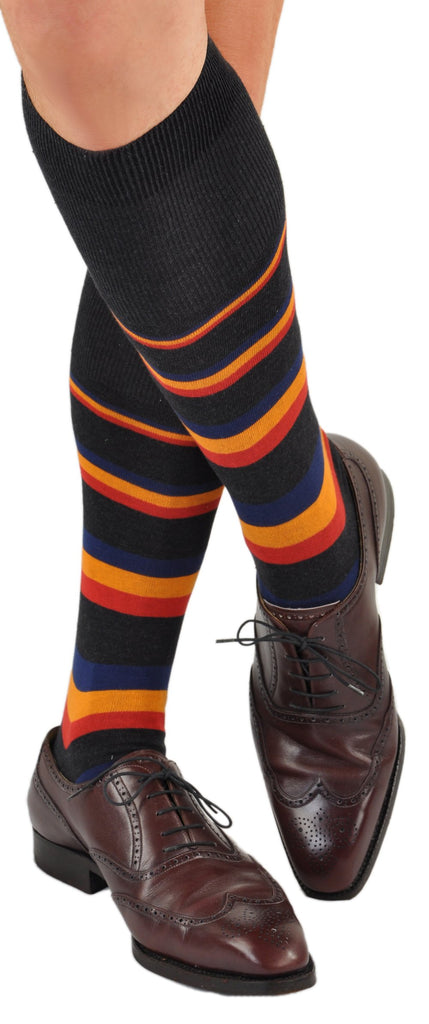 Bold Horizontal Stripe Over-the-Calf Cotton Dress Socks