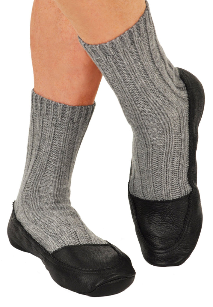 Cashmere & Deerskin Slipper in Flannel Grey