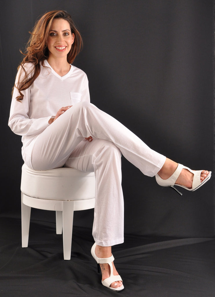 Exclusive Ultrafine Italian Filo di Scozia Cotton Long Pajamas