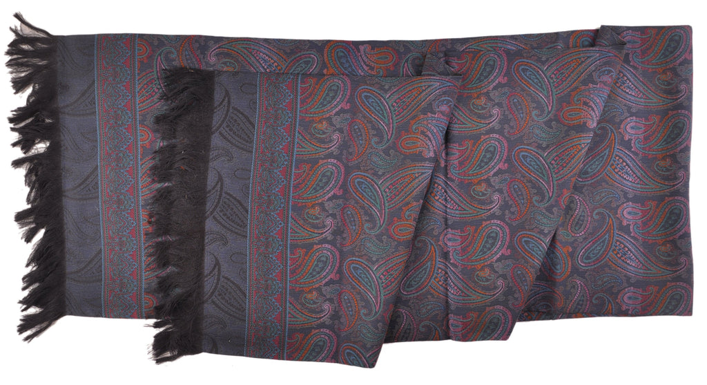 "SAMPLE-Only One Available: Butter-Soft Italian Silk Double-Sided 13"" x 62"" Paisley Scarf Navy with Navy"