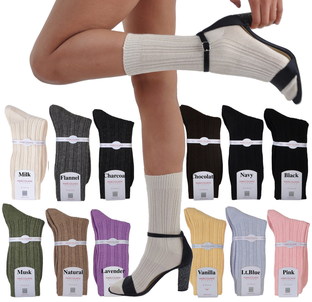 Women's Fashion Rib Cashmere Ankle/Trouser Socks