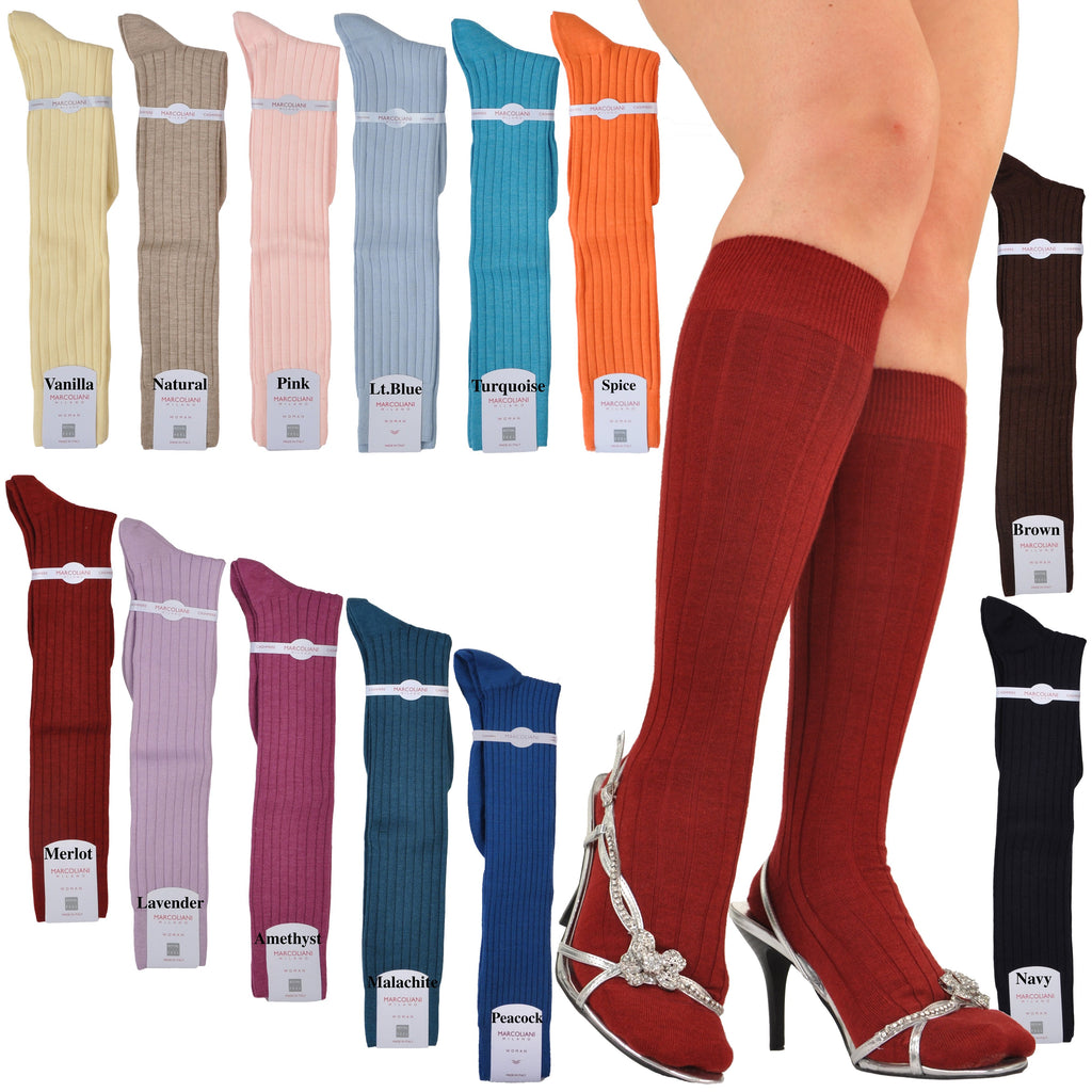 UltraFine Cashmere & Silk Ribbed Knee High Socks