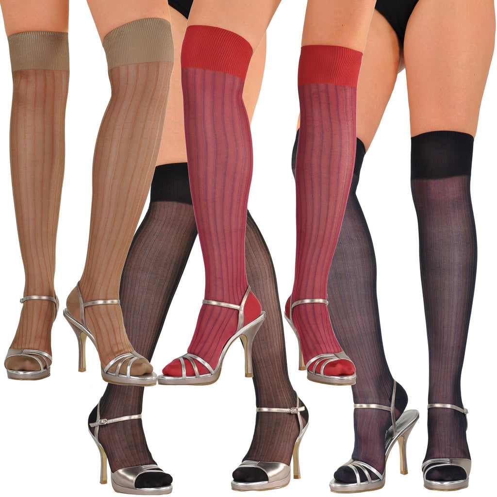 Stunning Pure Silk Fantasie Semi-Sheer Over-the-Knee Socks