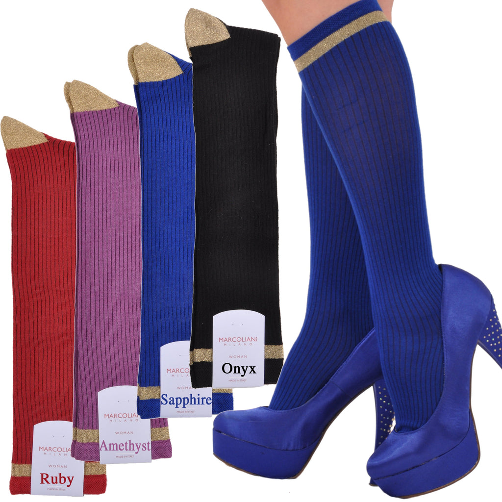 Gold Elegance Knee-High Socks