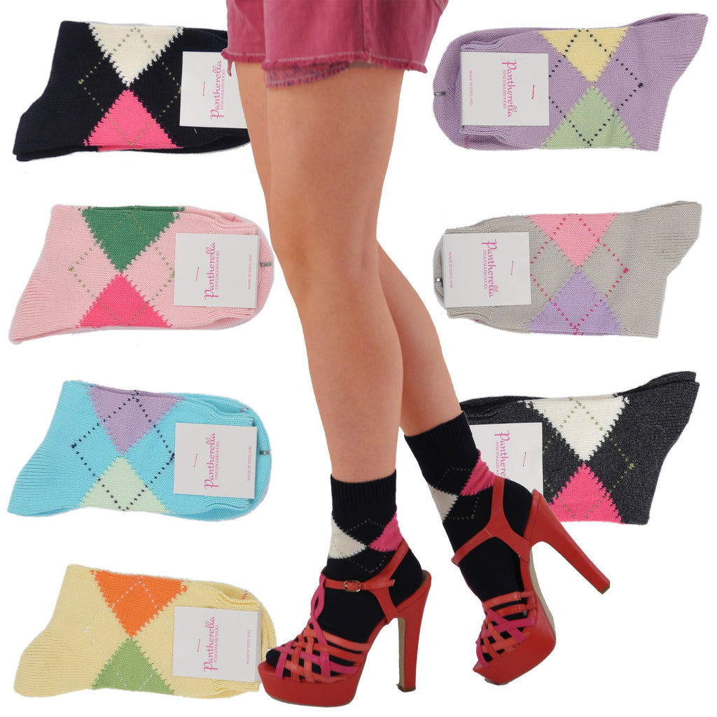 Pantherella Soft Cotton Trouser Length Argyle Socks
