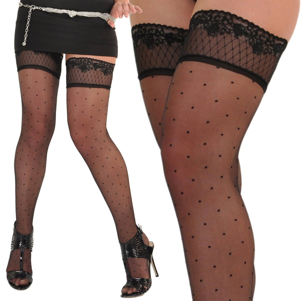 Plumetis 10 Steer Matte Dotted French Thigh-High Stay-Ups