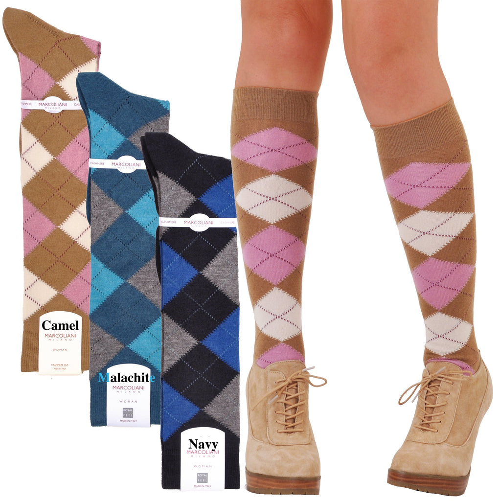 RARE LIMITED EDITION Knee-High Cashmere & Silk Sophisticated Argyle Socks