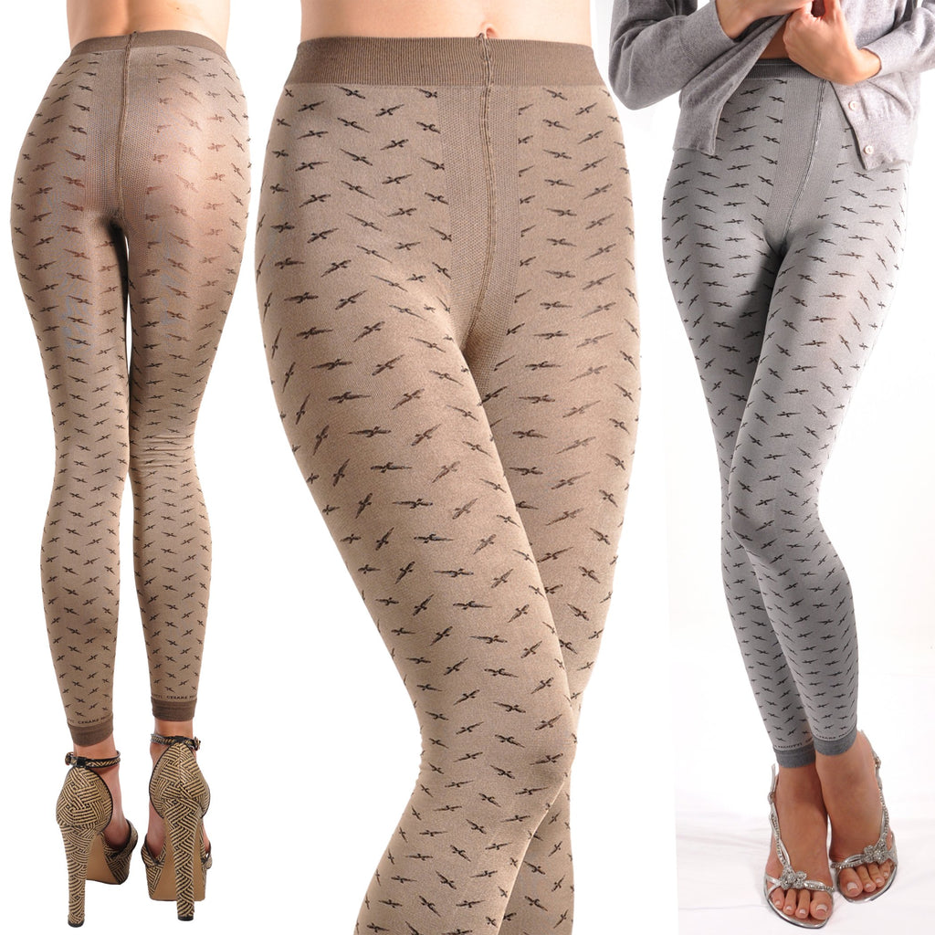Opaque Footless Sword Pattern Tights
