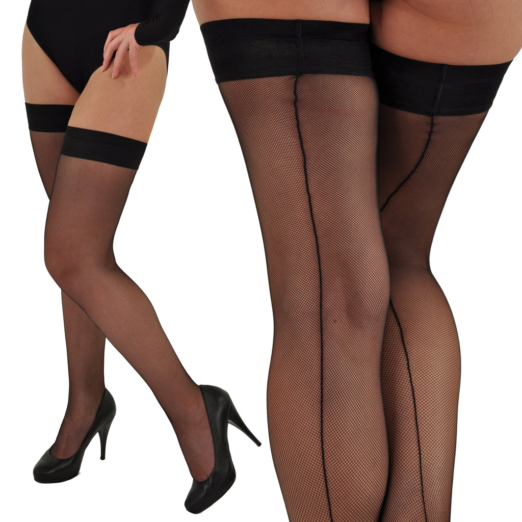 Sevilla Elegant Micro-Fishnet French Rear-Seamed Thigh-High Stay-Ups