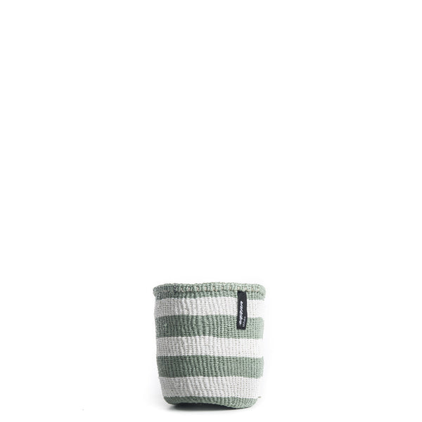 Handmade and high quality basket with thick white and light green stripes XS / S