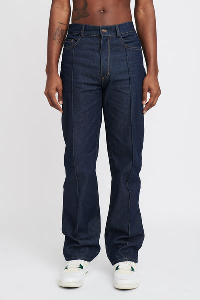 "RAW PLEATED DENIM JEANS ""INDIGO"""