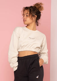 Sand Writing Elasticated Crop Sweat, Sand | Goose & Gander