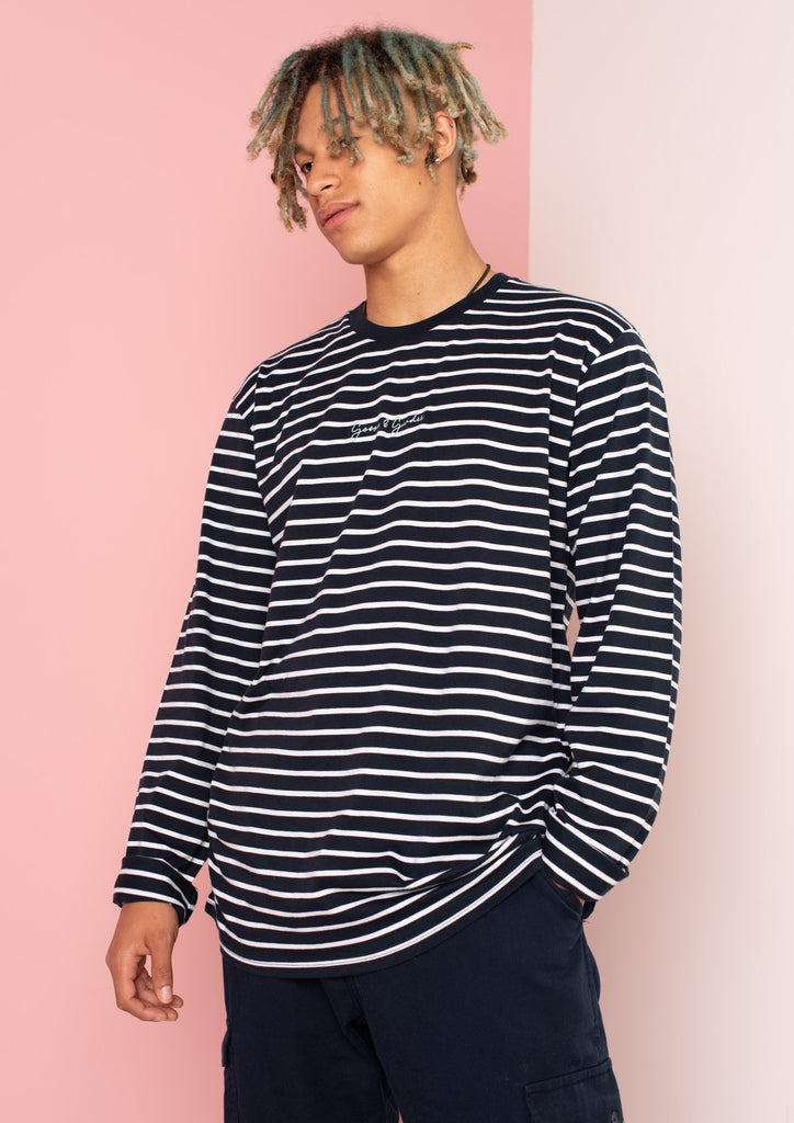 Unisex Match Stripe Signature Long Sleeve Tee, Navy/White | Goose & Gander