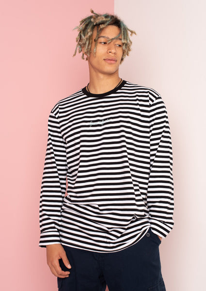 Unisex Match Stripe Signature Long Sleeve Tee, Black/White | Goose & Gander