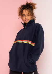 G&G Unisex Navy Sunset-Octave Ribbon 1/4 Zip Fleece