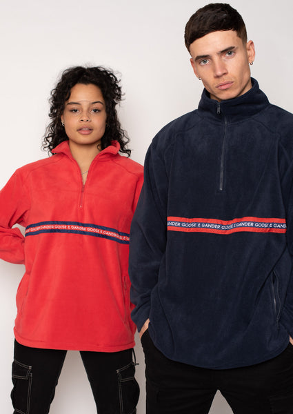 Unisex N/R Ribbon 1/4 Zip Fleece, Navy | Goose & Gander