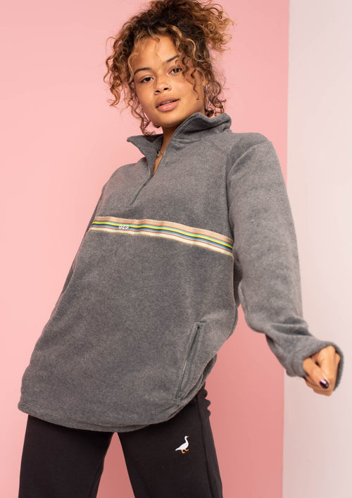 Unisex Bass-Vintage Ribbon 1/4 Zip Fleece, Smoke | Goose & Gander