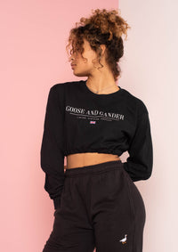 Black LTD Elasticated Crop Long Sleeve Tee, Black | Goose & Gander