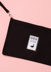Unisex New Black Patch Canvas Wristlet Pouch,  | Goose & Gander