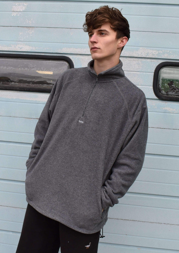 Unisex 1/4 Zip Simple Fleece, Stone Grey | Goose & Gander