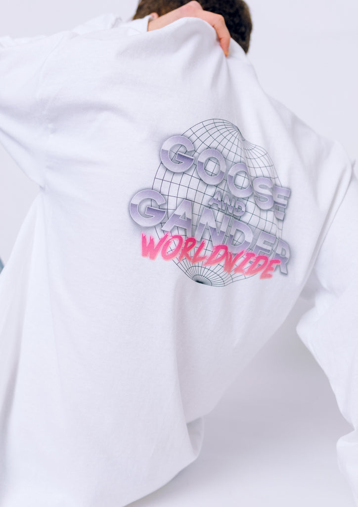 Unisex Worldwide Long Sleeve Tee, White | Goose & Gander