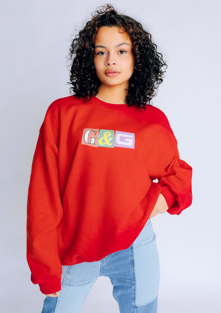 Unisex Patchwork Sweat, Red | Goose & Gander