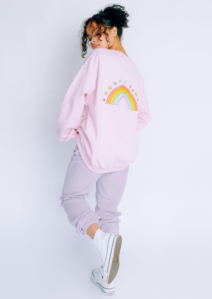 Unisex Big Rainbow Sweat, Baby Pink | Goose & Gander