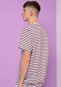 Unisex Writing Stripe Tee, Burgundy Red | Goose & Gander