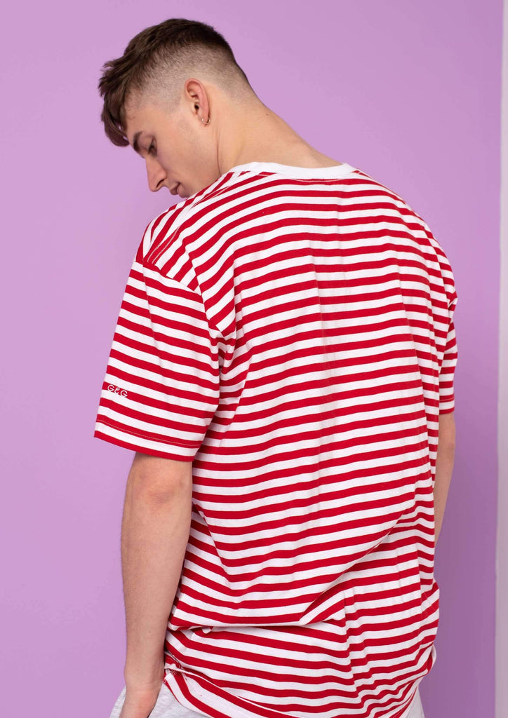 Unisex Simple Striped Tee, White / Red | Goose & Gander