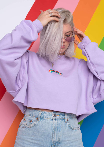 Cropped Rainbow Em Sweat, Orchid | Goose & Gander