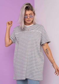 Unisex Writing Stripe Tee, Grey | Goose & Gander