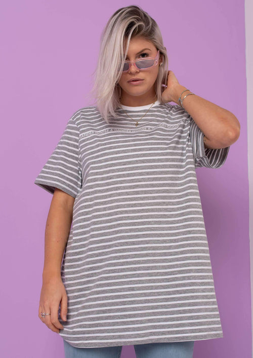 G&G Unisex Writing Stripe S/S Tee