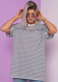 Unisex Writing Stripe Tee, Navy Blue | Goose & Gander