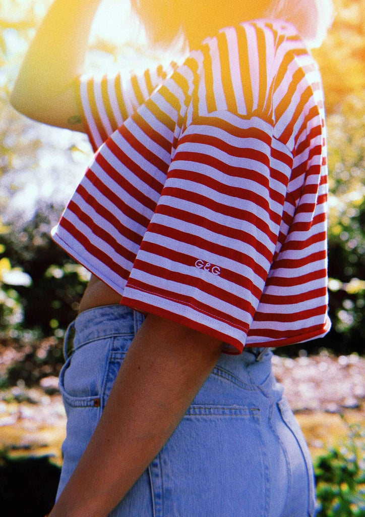 Cropped Simple Striped Tee, White/Red | Goose & Gander