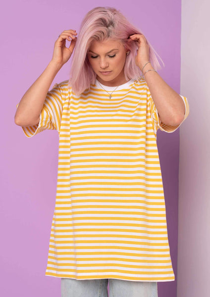 Unisex Simple Striped Tee, White / Yellow | Goose & Gander